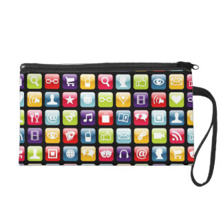 Mobile Phone App Icons Pattern Wristlet