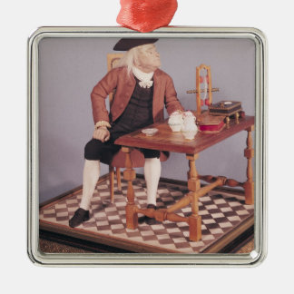 Model of Benjamin Franklin  at his table Silver-Colored Square Decoration