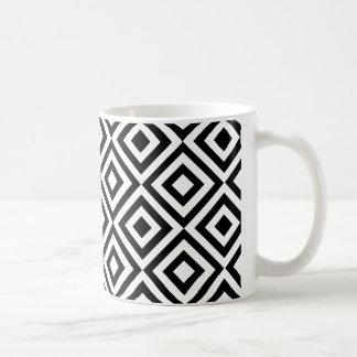 Modern abstract black white geometric pattern basic white mug