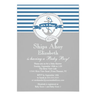 Modern Anchor Nautical Sailboat Boy Baby Shower 13 Cm X 18 Cm Invitation Card