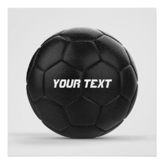Modern Black Soccer Ball Personalized Poster