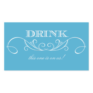 Modern Blue and White Swirl Wedding Drink Ticket Pack Of Standard Business Cards