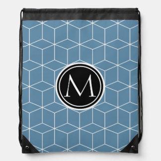 Modern Blue Geometric and Monogrammed Pattern Drawstring Backpacks