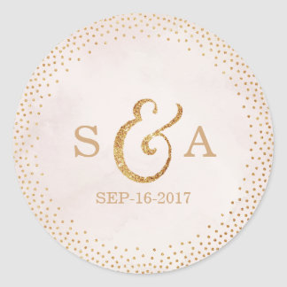 Modern blush glitter rose gold wedding monogram round sticker