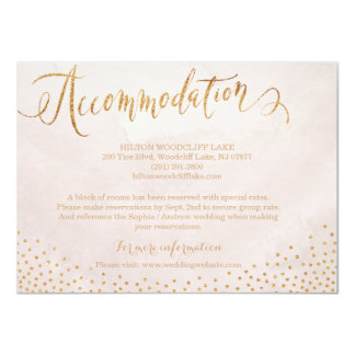 Modern blush rose gold calligraphy accommodation 11 cm x 16 cm invitation card