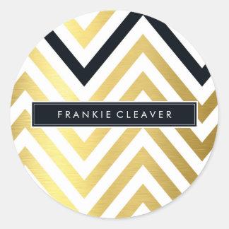 MODERN CHEVRON PATTERN trendy gold foil black Round Sticker