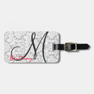 Modern Chic Black Monogram on Gray Damask Travel Bag Tag