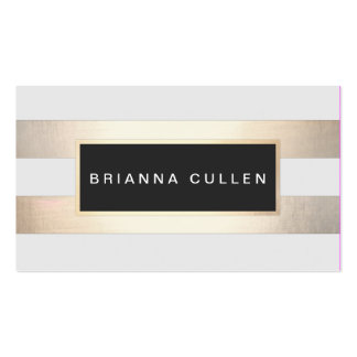 Modern Chic Striped Gold Foil (image) and Black Pack Of Standard Business Cards