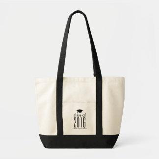 Modern Class of 2016 Graduation Cap Custom Color Impulse Tote Bag