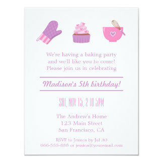 Modern Cupcake Purple Pink Baking Birthday Party 11 Cm X 14 Cm Invitation Card