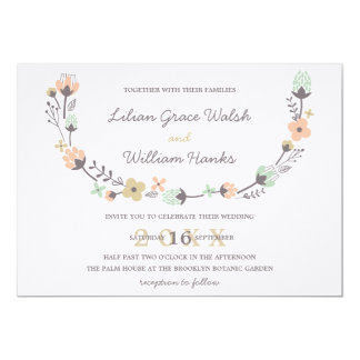 Modern Elegant Retro Floral Wreath Wedding 13 Cm X 18 Cm Invitation Card