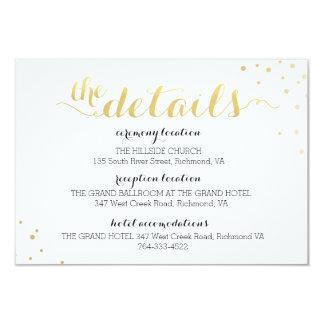 Modern Faux Gold Foil Glamour Information Card 9 Cm X 13 Cm Invitation Card