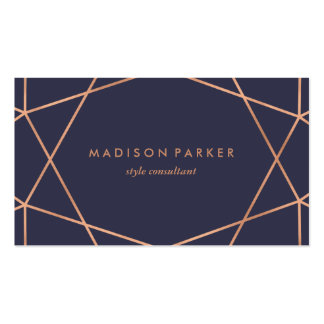 Modern Faux Rose Gold Geometric on Midnight Blue Pack Of Standard Business Cards