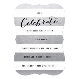 Modern Faux Silver Foil Party Invitation