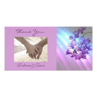 modern floral lilac purple orchid wedding photo cards