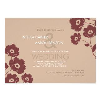 Modern Floral Wedding Invitation - marsala