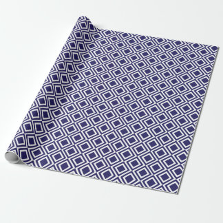 Modern Geometric Diamonds Navy Blue Wrapping Paper