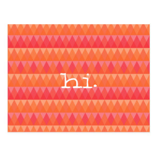 Modern Geometric Triangle Pattern Coral & Pink Art Postcard