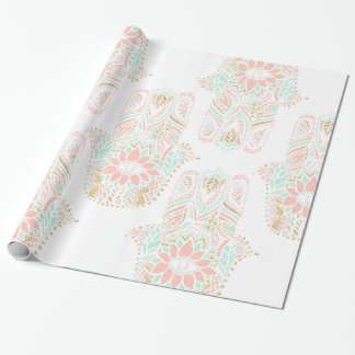 Modern girly pink mint gold Hamsa hand of fatima Wrapping Paper