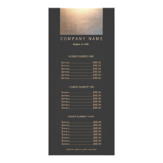 Modern Gold Zen Glow Salon Price List Menu Custom Rack Card