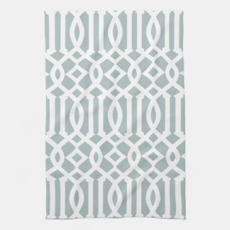 Modern Gray Blue and White Trellis Pattern Towel