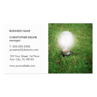 Modern Green Energy Light Bulb Grass Photo Pack Of Standard Business Cards