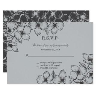 Modern Grey Floral Wedding Response Cards 9 Cm X 13 Cm Invitation Card