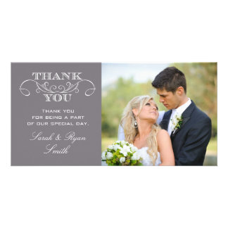 Modern Grey Wedding Photo Thank You Cards Photo Card Template
