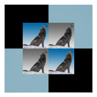 Modern Howling Wolf Squares Poster
