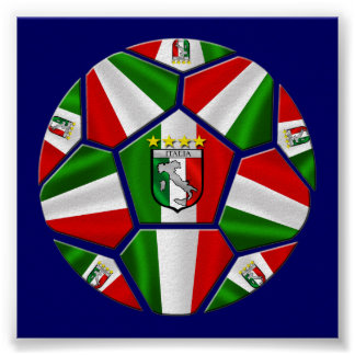 Modern Italian Soccer ball panels artwork sports Poster