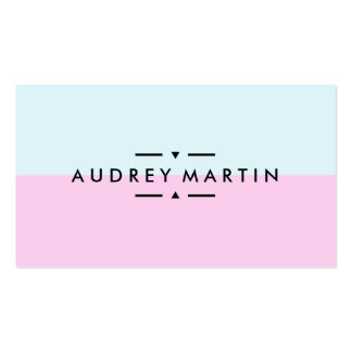 Modern light blue and pink minimalist color block pack of standard business cards