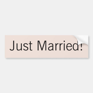 "Modern Monogram - Pink and Black ""Just Married"" Bumper Sticker"