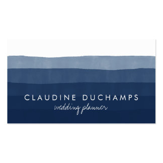 Modern navy blue elegant watercolor ombre striped pack of standard business cards