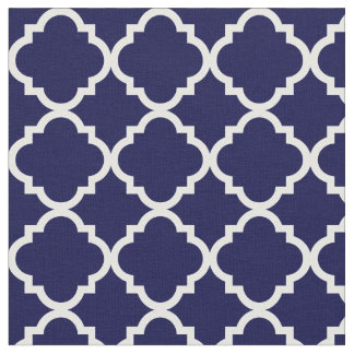 Modern Navy Blue Moroccan White Quatrefoil Fabric