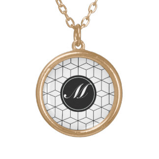 Modern Pattern and Monogram Round Pendant Necklace