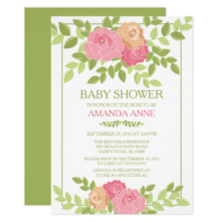 Modern Pink Floral Baby Shower Invitation