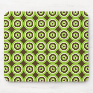 Modern Retro Circles Green & Brown Mousepad