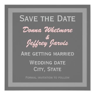 Modern Save the Date Announcement - Grey & Pink