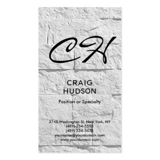 Modern Script Monogram Brick Wall Business Card
