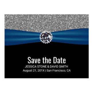 Modern Silver Glitter Blue Ribbon Save the Date Postcard