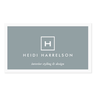 MODERN & SIMPLE BOX LOGO in SLATE BLUE Pack Of Standard Business Cards