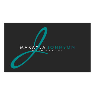 Modern & Simple teal blue Monogram Professional Pack Of Standard Business Cards