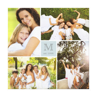 Modern Square Family Monogram Photo Collage Canvas Stretched Canvas Print