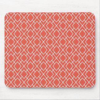 Modern Stylish Coral Pink Diamond Pattern Mouse Pad