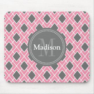 Modern Stylish Pink Grey Diamond Pattern Mouse Pad