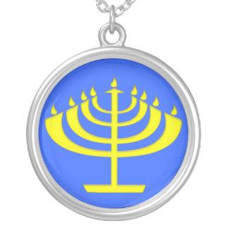 Modern Stylized Menorah for Chanukah Round Pendant Necklace