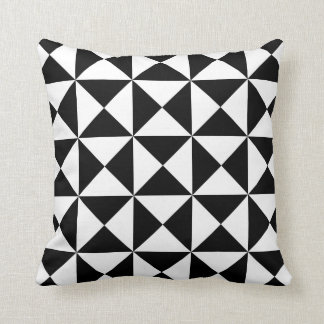 Modern Triangle Pattern Pillow in Black and White Throw Cushion