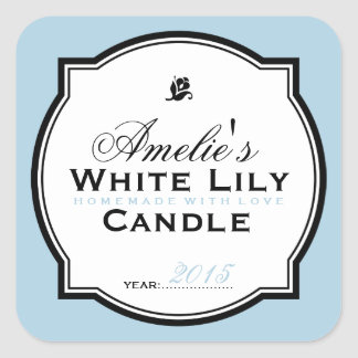 MODERN VINTAGE BLUE | PERSONALIZED SOAP CANDLE SQUARE STICKER