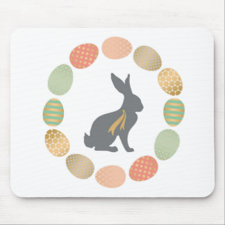 Modern vintage Easter bunny and eggs Mouse Pad