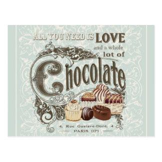 modern vintage french chocolates postcard
